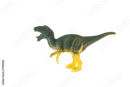 Poster Plastic dinosaur isolated on white background, Velociraptor