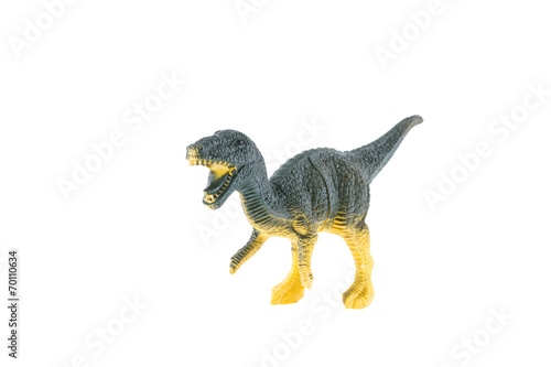 Plastic dinosaur isolated on white background, Velociraptor Poster