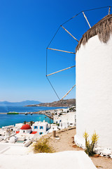 Windmill Milos Boni over Mykonos harbour