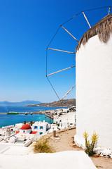 Windmill Milos Boni over Mykonos harbour