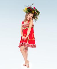 Adorable little girl dressed as Lesya Ukrainka.group of children
