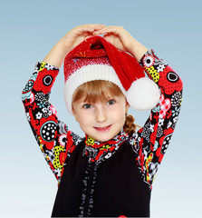 Little girl cap santa claus .