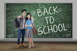 Two asian students back to school