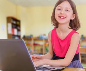 Pretty girl laughing pressing