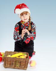 Little girl cap santa claus .