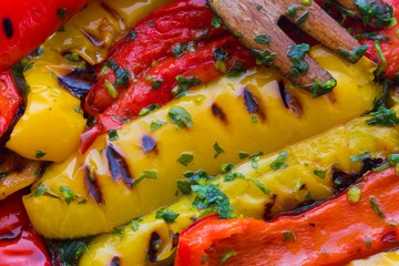 Bell peppers grilled with garlic oil