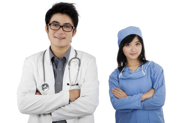 Two young confident doctors