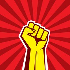 Hand Up Proletarian Revolution. Fist of revolution.