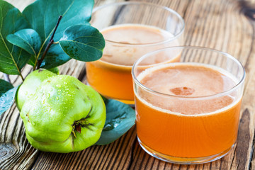 Homemade vegan fruit juice with sweet quince