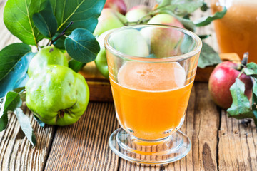 Homemade vegan apple juice with quince