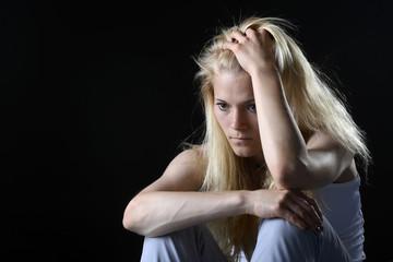 unglückliche junge Frau