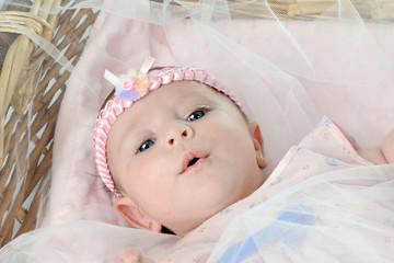 Cute baby lying in the basket