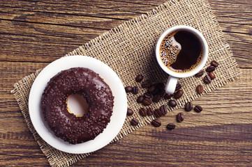 Chocolate donut and coffee