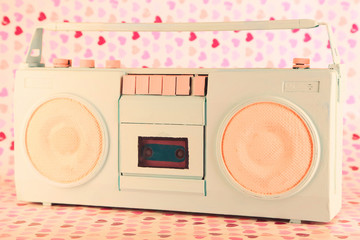 Retro radio, on bright  background