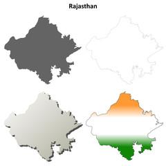 Rajasthan blank detailed outline map set