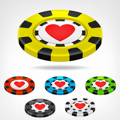 heart poker chip isometric set 3D object isolated
