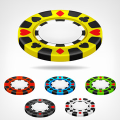 poker chip isometric color set 3D object isolated