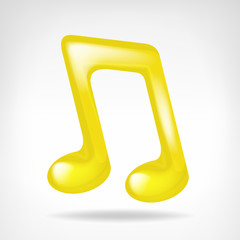 golden music note 3D icon isolated