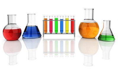 Test tubes and laboratory glassware isolated