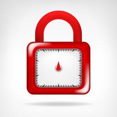 red code padlock symbol design isolated