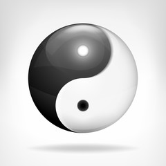 yin and yang 3D symbol design isolated on white