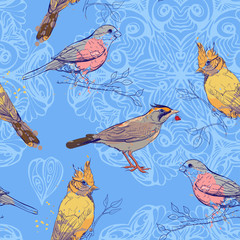 pattern with birds and mandala background