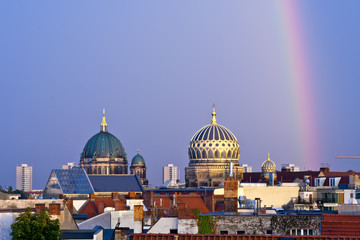 Berlin cathedral and new synagogue domes in Berlin, Germany