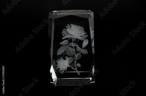 Laser engraving flower inside of the glass. - 70113867