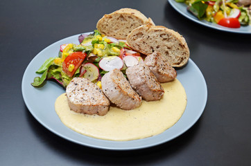 Pork tenderloin - medium done, with vegetable salade