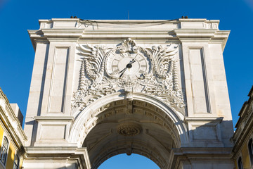 The Praca do Comercio Triumphal arc in Lisbon