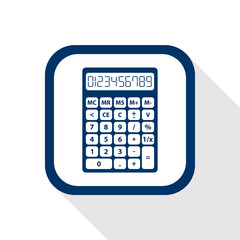 square blue icon calculator - set of digital numbers