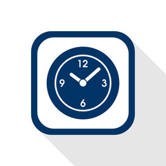 square blue icon clock with long shadow - symbol of time