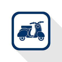 square blue icon retro no name scooter - symbol of transport