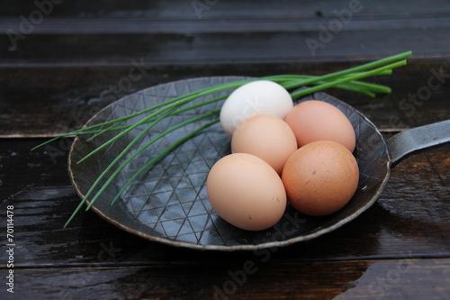 Leinwandbild Motiv Eier in der Pfanne