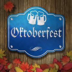 Schild Oktoberfest Emaille Holz Laub