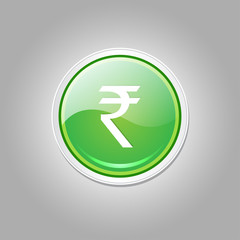 Rupee Currency Sign Circular Vector Green Web Icon Button