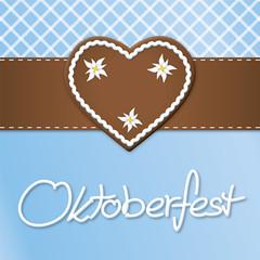 Karte Oktoberfest mit Lebkuchenherz