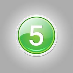 5 Number Circular Vector Green Web Icon Button