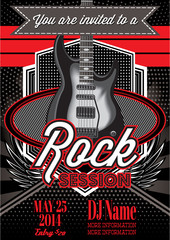 template for a rock concert with guitar