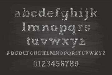 Chalk Alphabet Characters On Blackboard