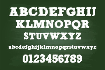 Chalk Alphabet Characters On Green Board
