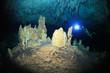 Cave diving in cenote cave - 70116664