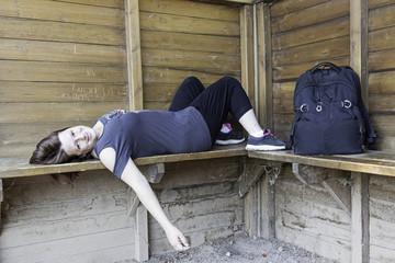 Girl backpack resting