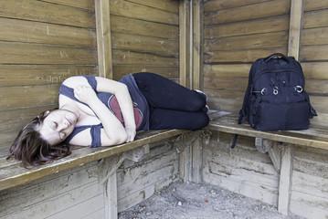 Backpacking sleeping girl