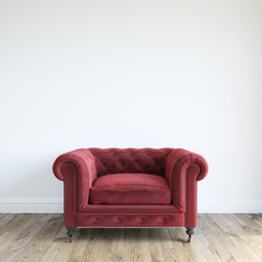 Single Red Velvet Armchair In Minimalist Interior Room