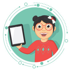 Vector Illustration Of A Girl With A Tablet