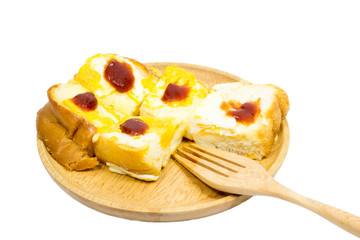 Slice toast bread with topping egg and tomato sauce