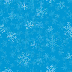 Snow on blue background - winter vector background