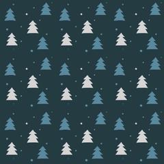 Vector winter pattern - trees on blue