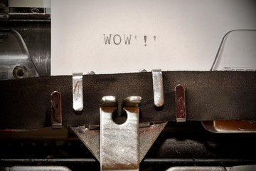 Word wow typed on old typewriter